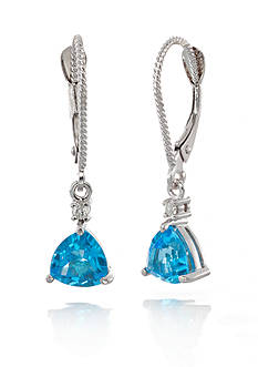 Belk & Co. 14k White Gold Blue Topaz and Diamond Earrings
