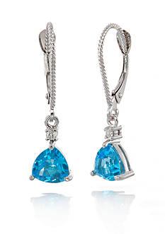 Belk & Co. 14k White Gold Blue Topaz and Diamond Earrings