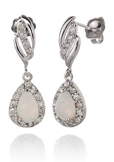 Belk & Co. 14k White Gold Opal and Diamond Earrings