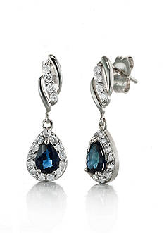 Belk & Co. 14k White Gold Sapphire and Diamond Drop Earrings