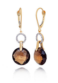 Belk & Co. 14k Yellow Gold Smokey Quartz and Diamond Earrings
