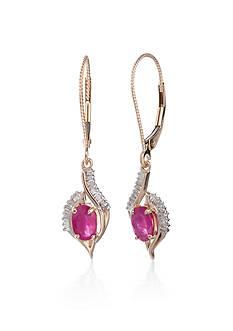 Belk & Co. 14k Yellow Gold Ruby and Diamond Swirl Earrings