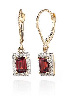 Belk & Co. 14k Yellow Gold Garnet and Diamond Earrings