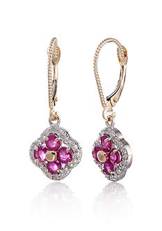 Belk & Co. 14k Yellow Gold Ruby and Diamond Clover Earrings