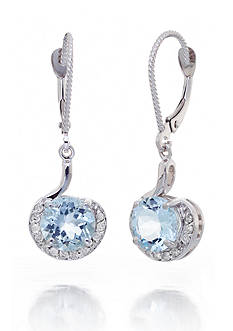 Belk & Co. 14k White Gold Aquamarine and Diamond Earrings