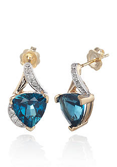 Belk & Co. 14k Yellow Gold London Blue Topaz and Diamond Earrings