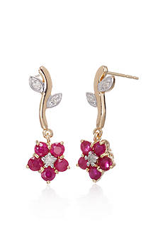 Belk & Co. 14k Yellow Gold Ruby and Diamond Flower Earrings