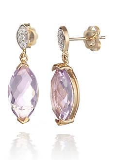 Belk & Co. 14k White Gold Pink Amethyst and Diamond Earrings