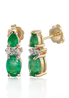 Belk & Co. 14k Yellow Gold Emerald and Diamond Earrings