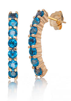 Belk & Co. London Blue Topaz Hoop Earrings in 14k Yellow Gold