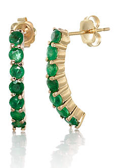 Belk & Co. 14k Yellow Gold Emerald Hoop Earrings