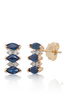Belk & Co. Sapphire and Diamond Earrings in 10k Yellow Gold