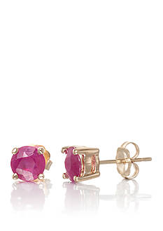 Belk & Co. Round Cut Ruby Stud Earrings set 14K Yellow Gold