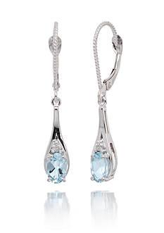 Belk & Co. Cushion Cut Aquamarine Gemstones and Diamond Dangle Earrings Set in 14K White Gold