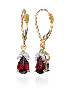 Belk & Co. Garnet and Diamond Accent Earrings in 14k Yellow Gold