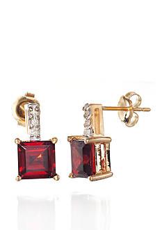 Belk & Co. Garnet and Diamond Accent Earrings in 14k Yellow Gold