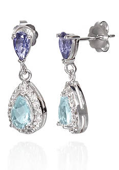 Belk & Co. Double Pear Aquamarine & Iolite Gemstones with Diamonds Earrings set in 14K White Gold