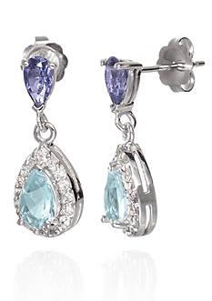 Belk & Co. Double Pear Aquamarine & Iolite Gemstones with Diamonds Earrings set in 14K White Gold