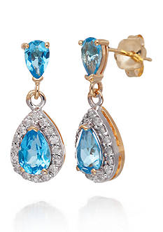 Belk & Co. Blue Topaz and Diamond Earrings in 14k Yellow Gold