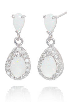 Belk & Co. Opal and Diamond Earrings in 14k White Gold