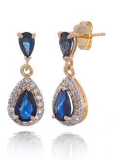 Belk & Co. Sapphire and Diamond Drop Earrings in 14k Yellow Gold