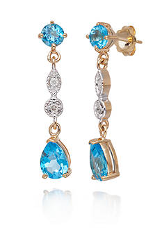 Belk & Co. Blue Topaz and Diamond Accent Earrings in 14k Yellow Gold