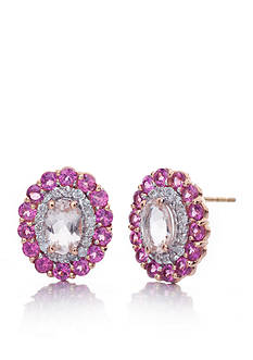 Belk & Co. Morganite, Rhodolite Garnet, and Diamond Earrings in 14k Rose Gold