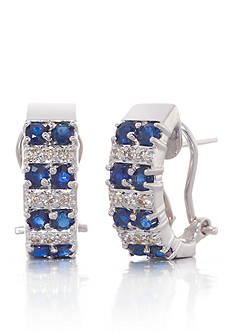 Belk & Co. Sapphire and Diamond Hoop Earrings in 14k White Gold