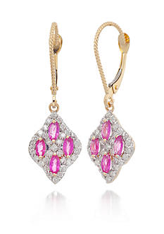 Belk & Co. Ruby and Diamond Earrings in 14k Yellow Gold
