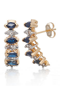 Belk & Co. Sapphire and Diamond Earrings in 14k Yellow Gold