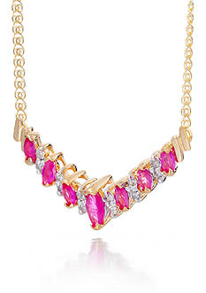 Belk & Co. Ruby and Diamond Necklace in 14k Yellow Gold