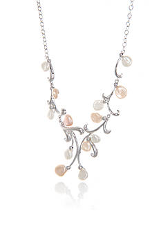 Belk & Co. Keshi Freshwater Pearl Budding Twig Necklace in Sterling Silver