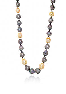 Belk & Co. 14k Yellow Gold Black Tahitian Pearl and Golden South Sea Pearl Necklace