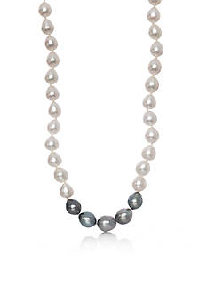 Belk & Co. Sterling Silver Freshwater and Tahitian Black Pearl Necklace