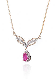 Belk & Co. 14k Yellow Gold Ruby and Diamond Necklace