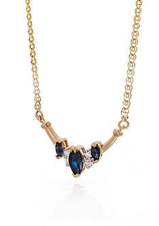 Belk & Co. Sapphire and Diamond Necklace in 14k Yellow Gold