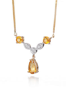 Belk & Co. Citrine and Diamond Necklace in 14k Yellow Gold