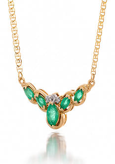 Belk & Co. Emerald and Diamond Necklace in 14k Yellow Gold