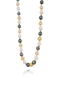 Belk & Co. Golden South Sea, Tahitian, and Freshwater Pearl Strand Necklace