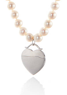 Belk & Co. Freshwater Pearl Strand and Sterling Silver Charm Necklace