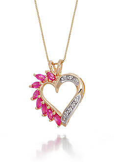 Belk & Co. Marquise Cut Ruby & Diamond Heart Pendant Set in 14K Yellow Gold