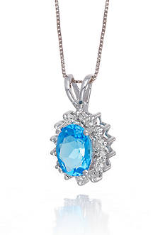 Belk & Co. Blue Topaz and Diamond Pendant in 14k White Gold