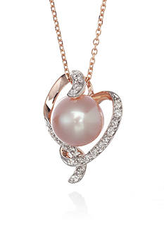 Belk & Co. 14k Rose Gold Pink Freshwater Pearl and Diamond Pendant