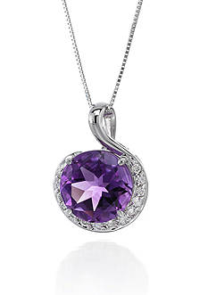 Belk & Co. 14k White Gold Amethyst and Diamond Pendant