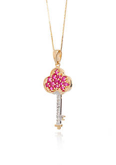 Belk & Co. Ruby and Diamond Accent Pendant in 14k Yellow Gold