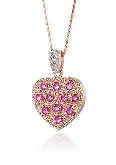 Belk & Co. 14k Rose Gold Ruby and Diamond Heart Pendant
