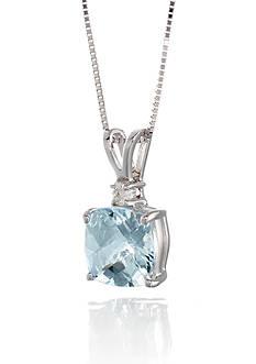 Belk & Co. 14k White Gold Aquamarine and Diamond Pendant