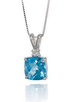 Belk & Co. 14k White Gold Blue Topaz and Diamond Pendant