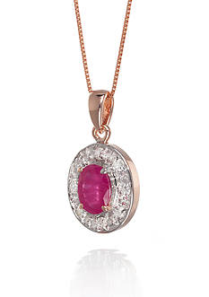 Belk & Co. 14k Rose Gold Ruby and Diamond Pendant