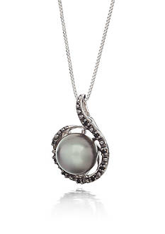 Belk & Co. Sterling Silver Tahitian Pearl and Black Diamond Swirl Pendant